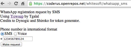 Solicitar código Whatsapp