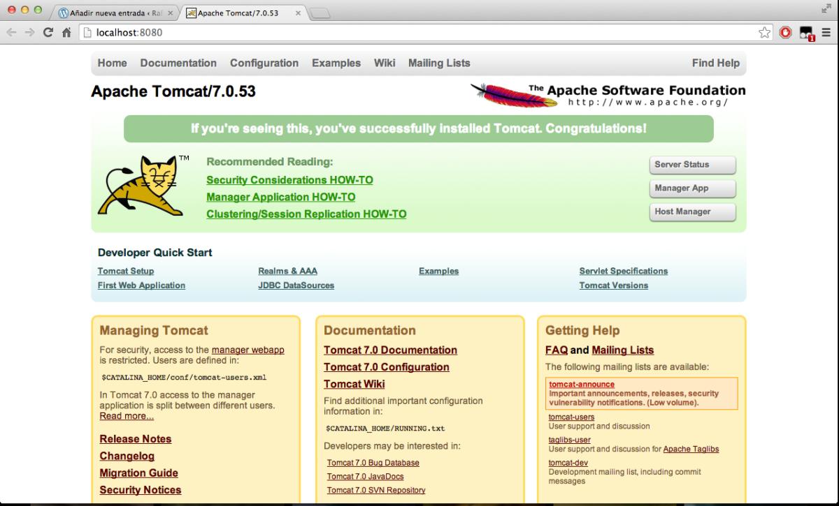 Homepage Tomcat Server